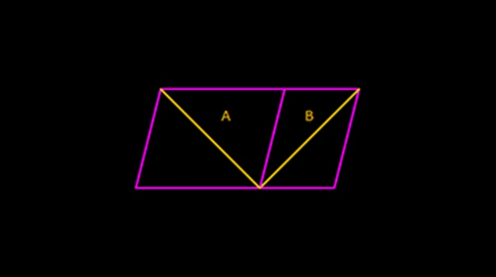 Sander's parallelogram:  In this geometrical illusion, the yellow diagonal line 'A' bisecting the larger left pink parallelogram appears to be considerably longer than the yellow diagonal line 'B' bisecting the smaller right pink parallelogram. Yet, both yellow diagonal lines 'A' and 'B' have the same length.