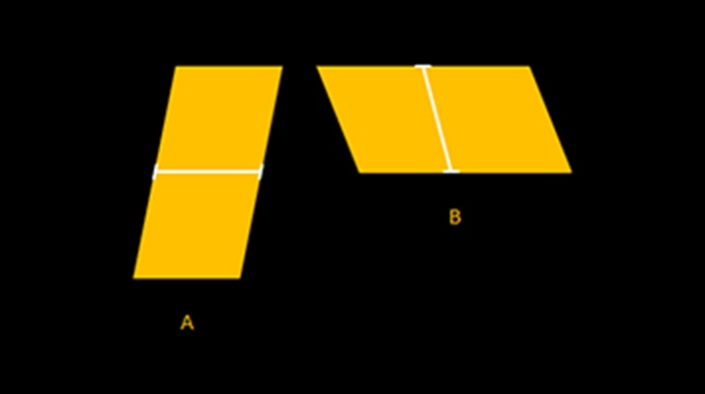 Shepard illusion:  Also known as the 'Tabletop illusion', tabletop 'A' facing away from us looks longer and narrower than tabletop 'B' that is facing sideways. Yet, both tabletops 'A' and 'B' are identical.